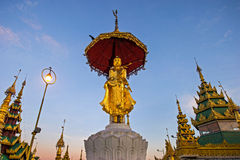 Atmosphere of dawn at Shwedagon pagoda in Yagon, Myanmar Royalty Free Stock Images