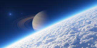 Atmosphere. Elements of this image furnished by NASA. Planet with rings at sunrise. Elements of this image furnished by NASA Royalty Free Stock Photo