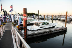 Atmosphere from from first day Boat Show 2016 in Norwalk Royalty Free Stock Images