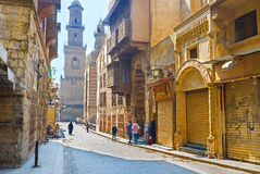 The atmosphere of Islamic Cairo. CAIRO, EGYPT - OCTOBER 10, 2014: The  district of Islamic Cairo and its oldest Al-Muizz street boasts the unique medieval spirit Stock Images
