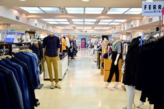 The atmosphere in the mall and the trousers in the department store. royalty free stock photography