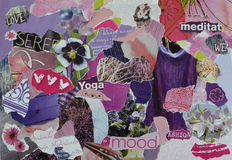 Atmosphere  mood board collage sheet  in purple,pink and indigo color made of teared magazine paper with figures, letters, colors Royalty Free Stock Images