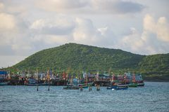 The atmosphere near the fishing pier on Samae Beach, Rayong. Stock Image