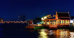 Atmosphere of night Bangkok, Thailand with Lights. Stock Photography