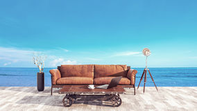 The atmosphere in the office balcony at the sea. Royalty Free Stock Image