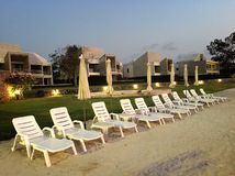 The atmosphere at Pattaya City in Thailand. Chairs on the beach Royalty Free Stock Photos