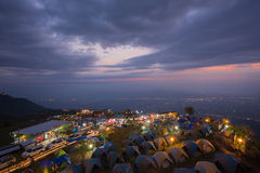 Atmosphere of Phu thap buek before sunrise,this place is popular Stock Image