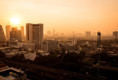 The atmosphere of poor air pollution PM2.5. Condition in the morning in Bangkok, Thailand stock image
