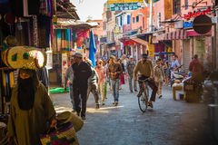 The atmosphere in the streets of Old Marrakesh stock image
