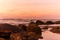 Atmosphere at sunrise on the beach Royalty Free Stock Photo