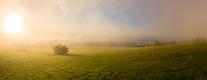 Atmosphere at sunrise on mountain pasture Royalty Free Stock Photography