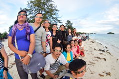 Atmosphere Tanjung Pandan Belitung residents welcomed the solar eclipse Royalty Free Stock Photos