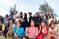 Atmosphere Tanjung Pandan Belitung residents welcomed the solar eclipse Royalty Free Stock Images