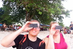 Atmosphere Tanjung Pandan Belitung residents welcomed the solar eclipse Royalty Free Stock Image
