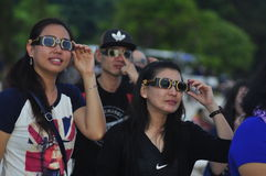 Atmosphere Tanjung Pandan Belitung residents welcomed the solar eclipse Stock Photo