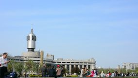 Atmosphere of Tianjin railway station with people. stock video
