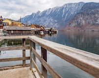 The atmosphere in the village hallstatt Austria stock photo