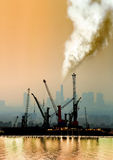 Atmospheric air pollution from factory Stock Photos