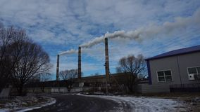 Atmospheric Air Pollution From Industrial Smoke Now. Pipes Steel Plant. stock video