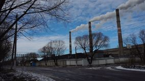 Atmospheric Air Pollution From Industrial Smoke Now. Pipes Steel Plant. Air Pollution By Industrial Smoke. Pipes Of Metallurgical Plant. Thick smoke and steam stock video footage