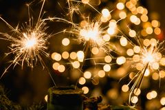 Atmospheric Christmas background with fireworks.  Stock Photos