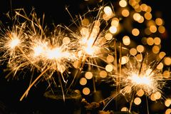 Atmospheric Christmas background with fireworks.  Stock Photography