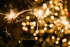 Atmospheric Christmas background with fireworks.  Royalty Free Stock Photography