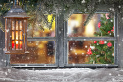 Atmospheric Christmas window sill decoration Royalty Free Stock Photos