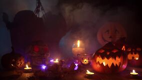 Atmospheric decorations in the style of Halloween in a thick magical smoke mystical background