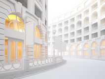 Atmospheric empty street of retail stores. A 3d illustration of atmospheric empty street of retail stores Stock Image