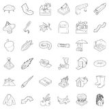 Atmospheric icons set, outline style. Atmospheric icons set. Outline set of 36 atmospheric vector icons for web isolated on white background Stock Photography