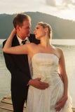 Atmospheric image of a newlywed newlyweds Royalty Free Stock Photos