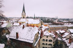 City Life of Ljubljana at winter, Slovenia, Europe. Atmospheric Real Winter Panoramic View of Ljubljana from Castle on the Snowy Red Roofs. Ljubljana, Slovenia Royalty Free Stock Photos