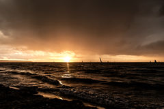 Atmospheric Sunset. In Rostock, Germany Royalty Free Stock Photos