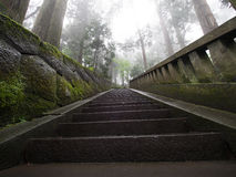 Atmospheric temple pathway. An atmospheric pathway in Niko, Japan Stock Image
