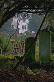 Atmospheric view of churchyard. Royalty Free Stock Image