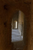 Atmospheric view inside a medieval castle corridor Royalty Free Stock Photo