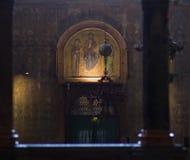 Atmospheric view inside St.Mark`s Basilica, Venice. Royalty Free Stock Photos