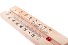 Atmospheric wooden thermometer Royalty Free Stock Photos