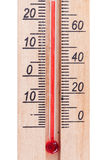 Atmospheric wooden thermometer Royalty Free Stock Images
