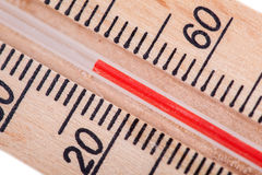 Atmospheric wooden thermometer Stock Photos