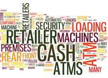 Atms comment fait le concept de Decide Word Cloud de détaillant Photographie stock libre de droits