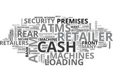 Atms comment fait le détaillant Decide Word Cloud Photographie stock