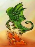 Atmungsfeuer des grünen Drachen Stockfoto