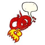Atmungsfeuer des Karikaturdrachen mit Spracheblase Stockbild