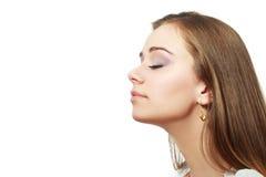 Atmungsfrauenabschluß oben Stockfotografie