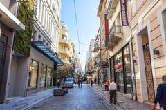 11 03 2018 Atnens, Ελλάδα - σπίτια και οδοί της Αθήνας, σύγχρονα Στοκ Φωτογραφίες