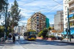 11 03 2018 Atnens, Ελλάδα - σπίτια και οδοί της Αθήνας, σύγχρονα Στοκ Εικόνα