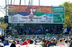 Ato comemorativo do dia dos trabalhadores na cidade de Montevideo imagens de stock