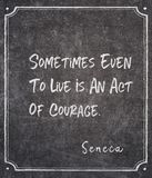 Ato de citações do Seneca da coragem fotos de stock royalty free